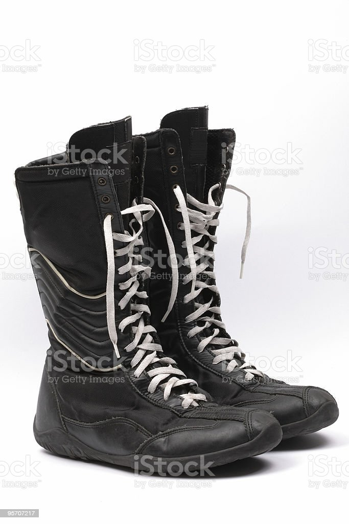 black boxing boots, isolated stock photo