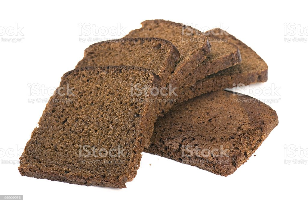 Black bread isolated on white royalty-free stock photo