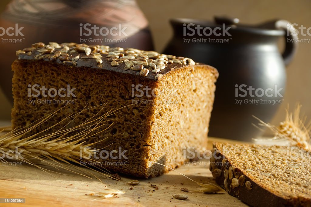 Black bread with sunflower seeds royalty-free stock photo