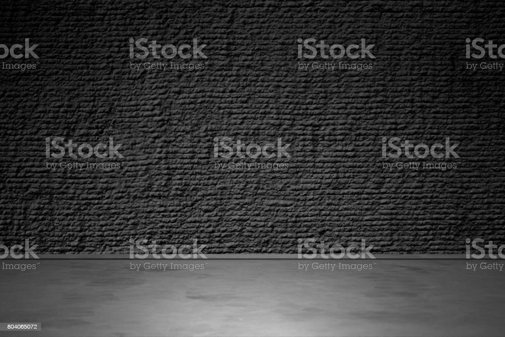 Black brick wall and flooring stock photo