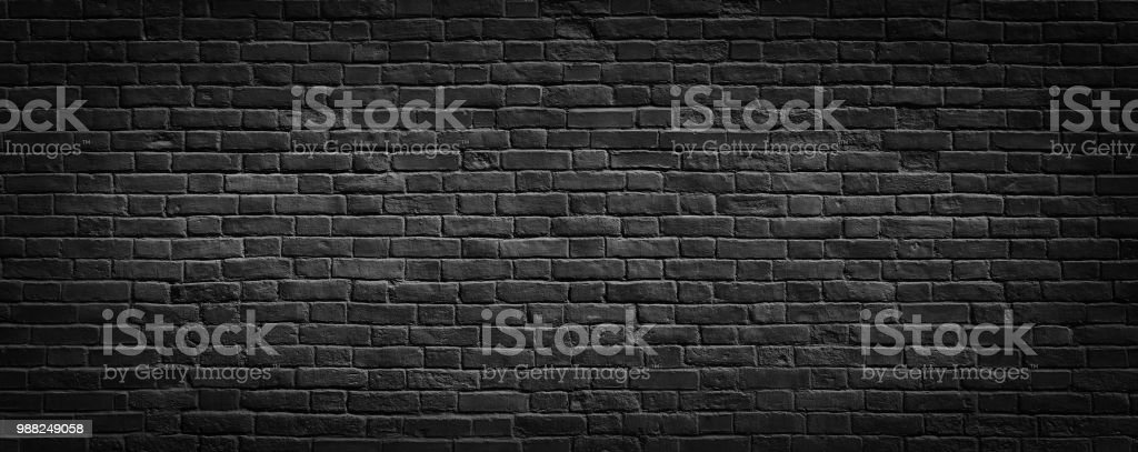 Black brick wall background. stock photo