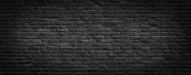 siyah tuğla duvar arka plan. - tuğla stok fotoğraflar ve resimler