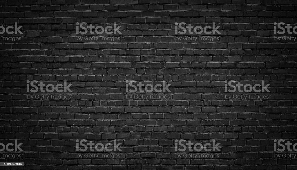 black brick wall background. texture dark masonry stock photo