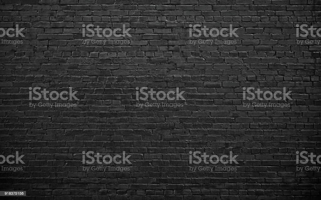 black brick wall, brickwork background for design stock photo