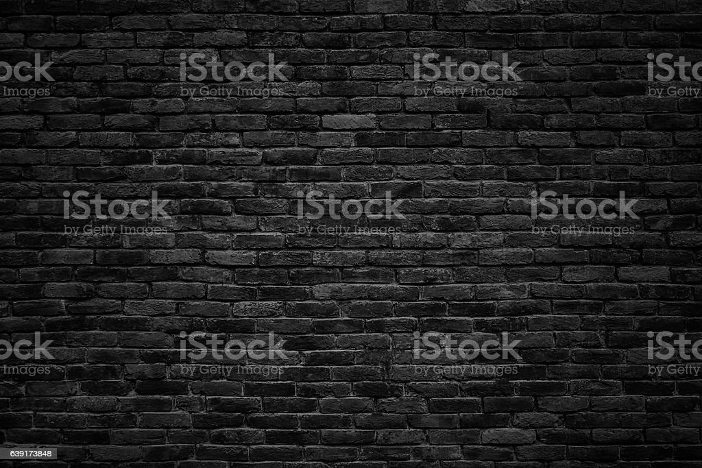 black brick wall, dark background for design - foto stock