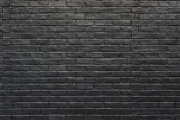 Black brick wall for background. Painted bricks stock photo