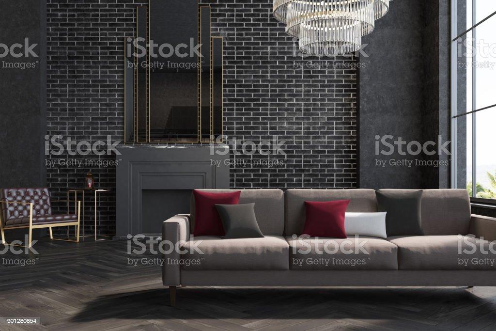 Black Brick Wall Living Room Sofa Fireplace Stock Photo