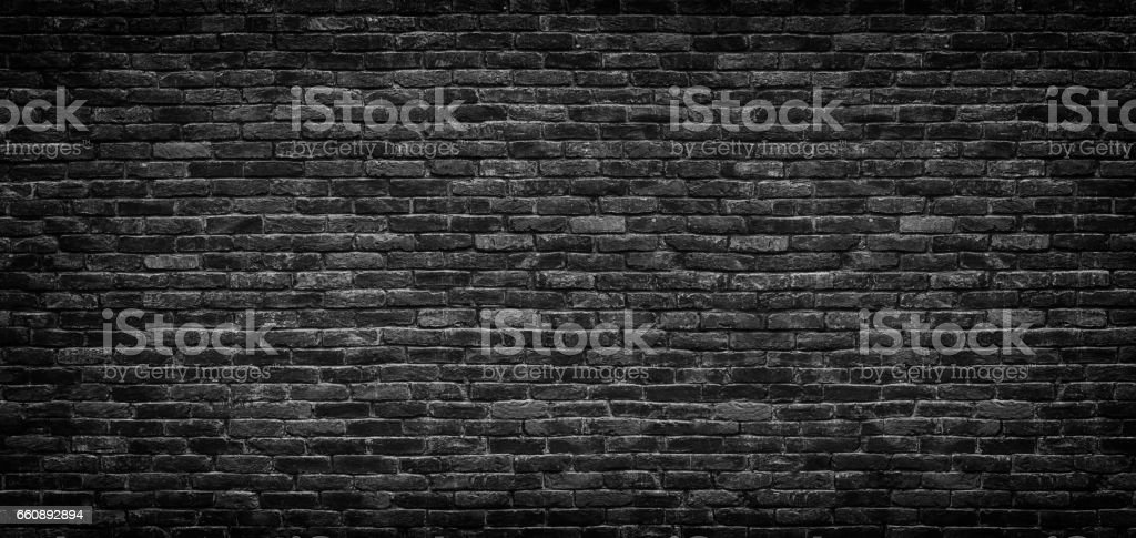 Black brick wall texture, brick surface as background stock photo