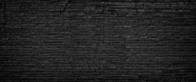 black brick wall of panoramic view in high resolution