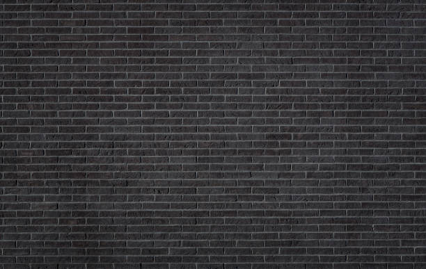 Black brick wall texture stock photo