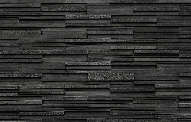 black bricks slate texture background, slate stone wall texture - slate rock stock photos and pictures