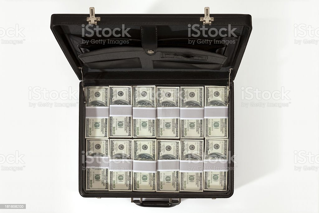 Black Briefcase Full Of Money stock photo