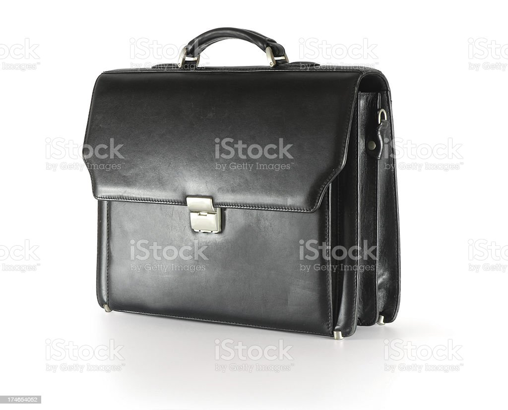 Black briefcase stock photo