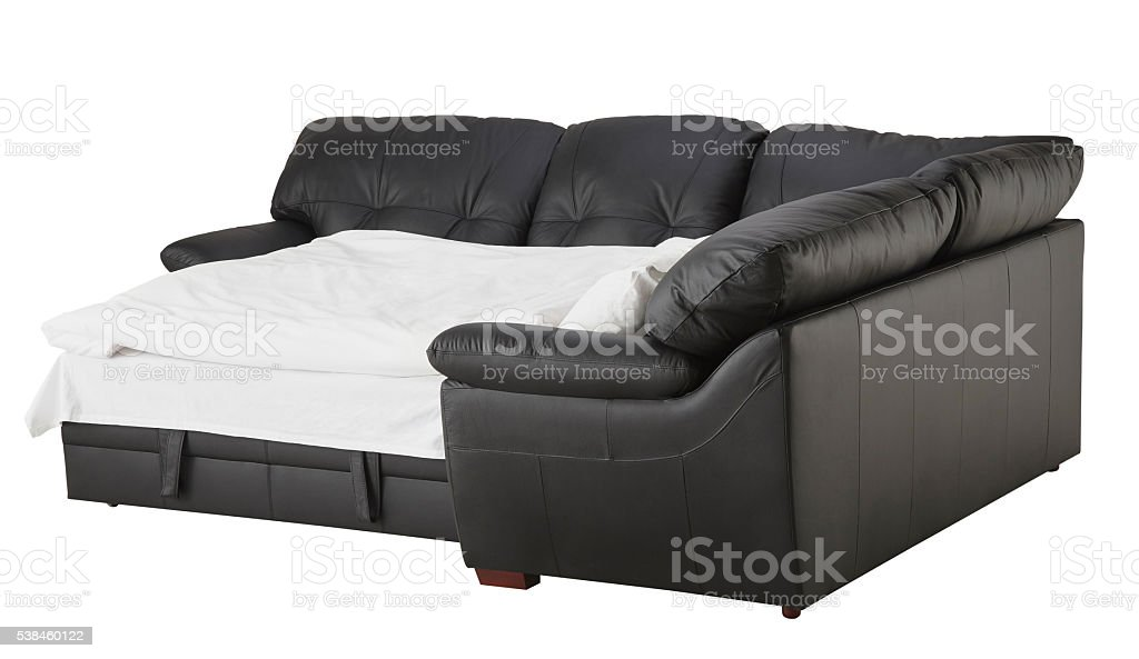 Pleasing Black Brown Leather Corner Couch Bed Isolated On White Stock Ibusinesslaw Wood Chair Design Ideas Ibusinesslaworg