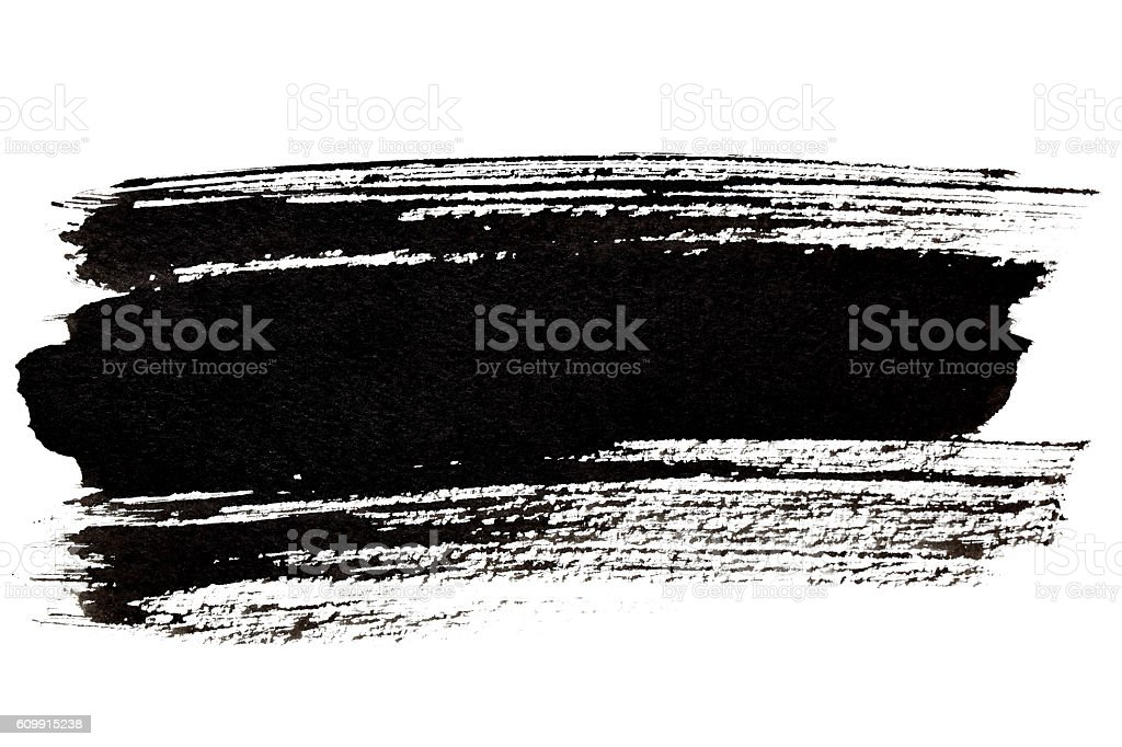 Black brush stroke closeup stock photo