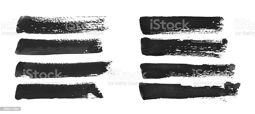 Traços de pincel preto - fotografia de stock