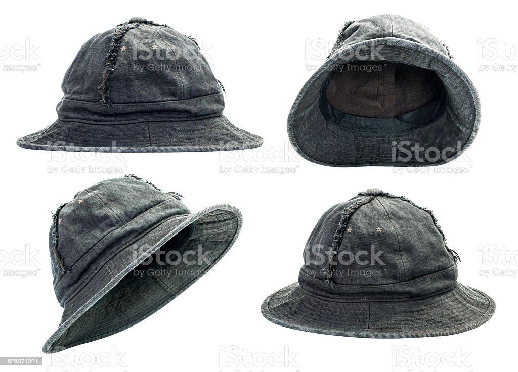 Black bucket hat stock photo