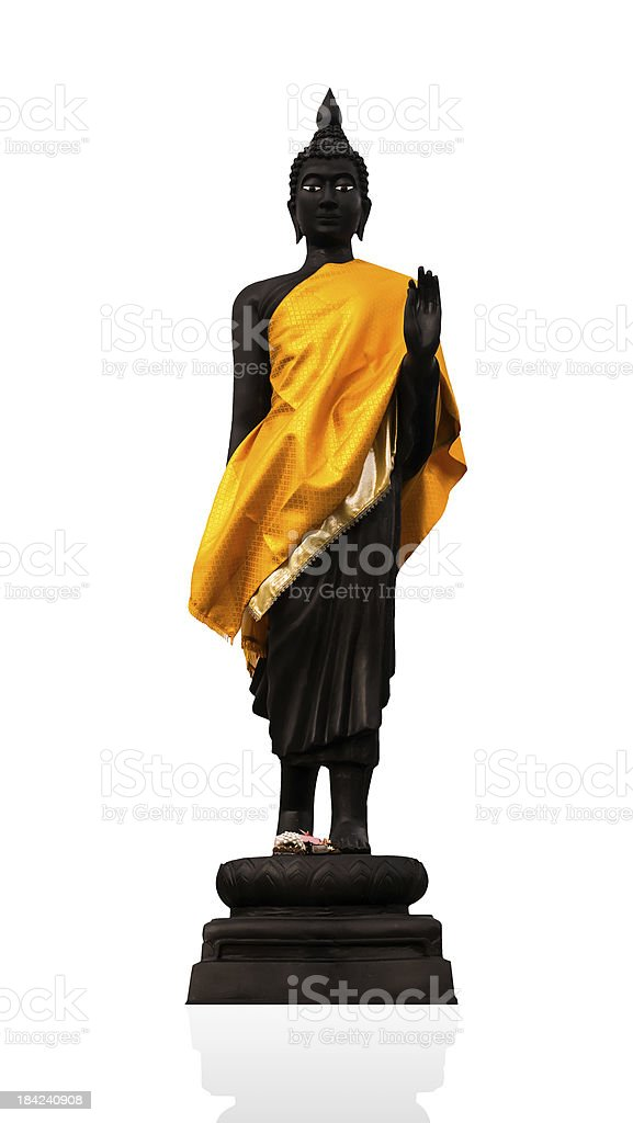 Black Buddha in Bor-thong temple royalty-free stock photo