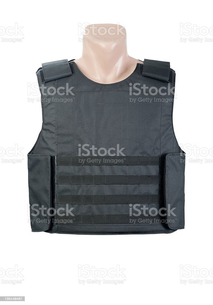 A black bulletproof vest on a mannequin stock photo