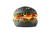 Black burger isolated on white background. Front view.