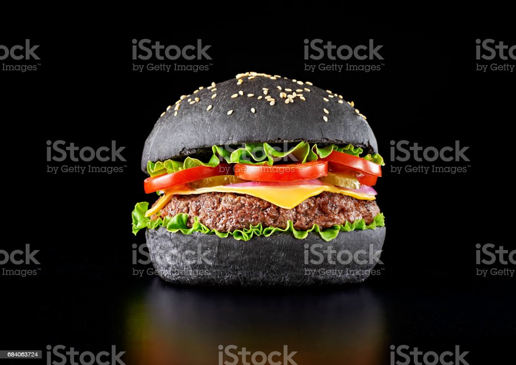 Black burger stock photo