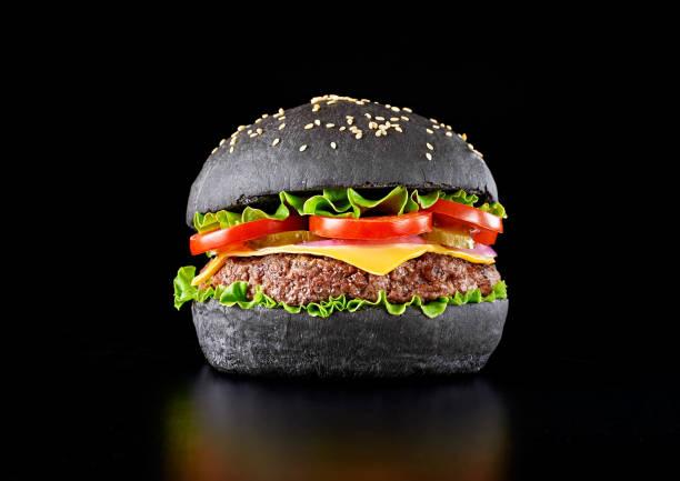 Black burger stock photo