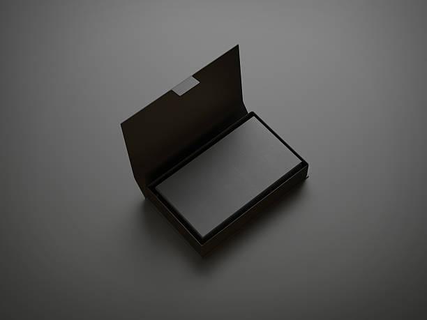 black visitenkarte in das feld - box falten stock-fotos und bilder