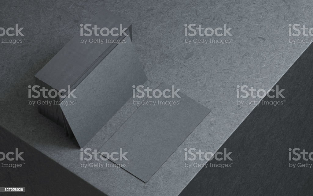 Black business cards mockup stock photo
