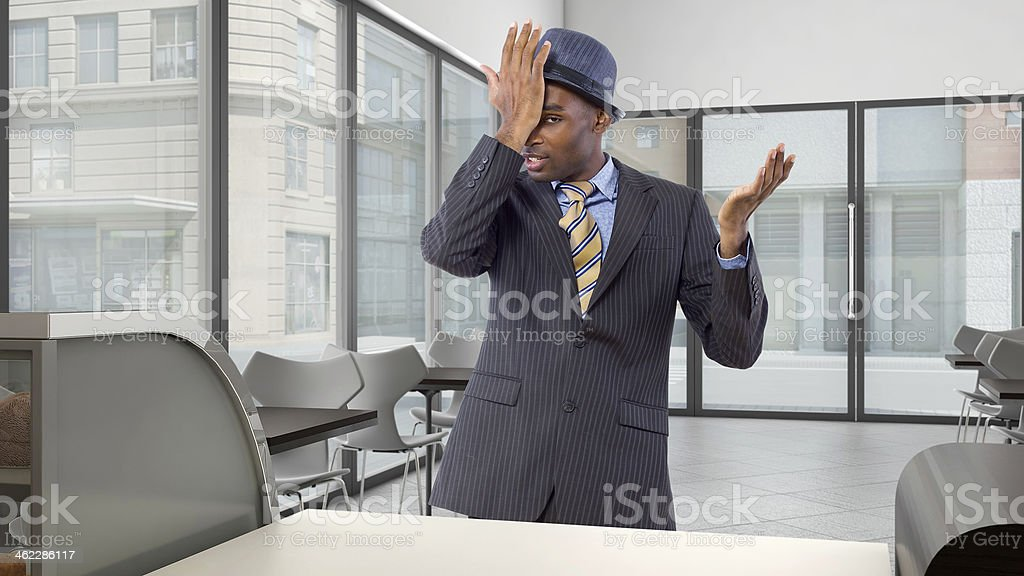 Black Businessman Customer is Upset At a Coffeeshop stock photo