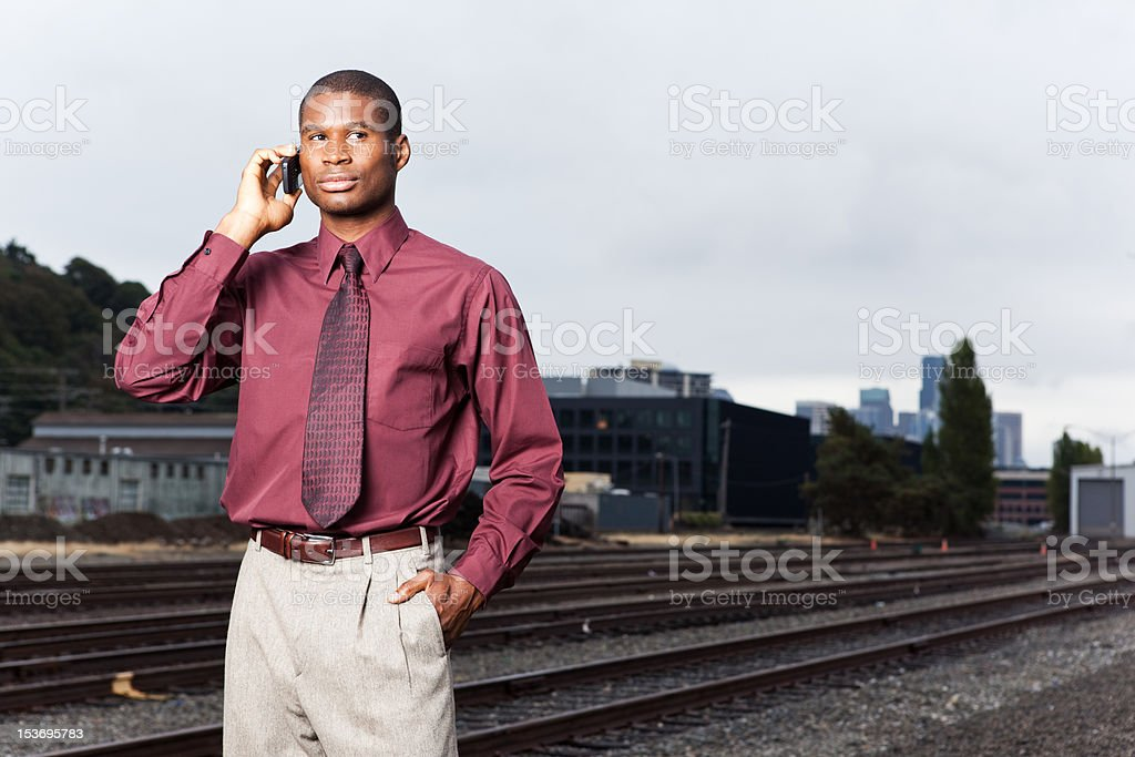 Black businessman on the phone royalty-free stock photo