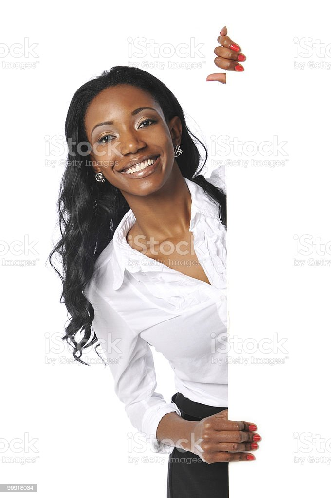 Black businesswoman holding sign royalty-free stock photo