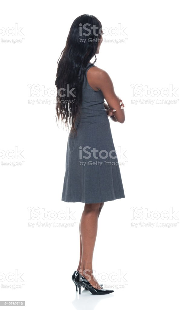 Black businesswoman with arms crossed stock photo