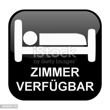 istock Black Button: Room available german 693695140