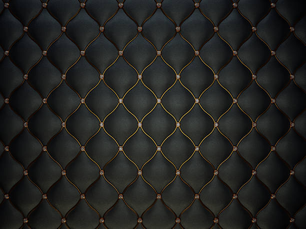 Black Buttoned luxury leather pattern with gemstones stock photo