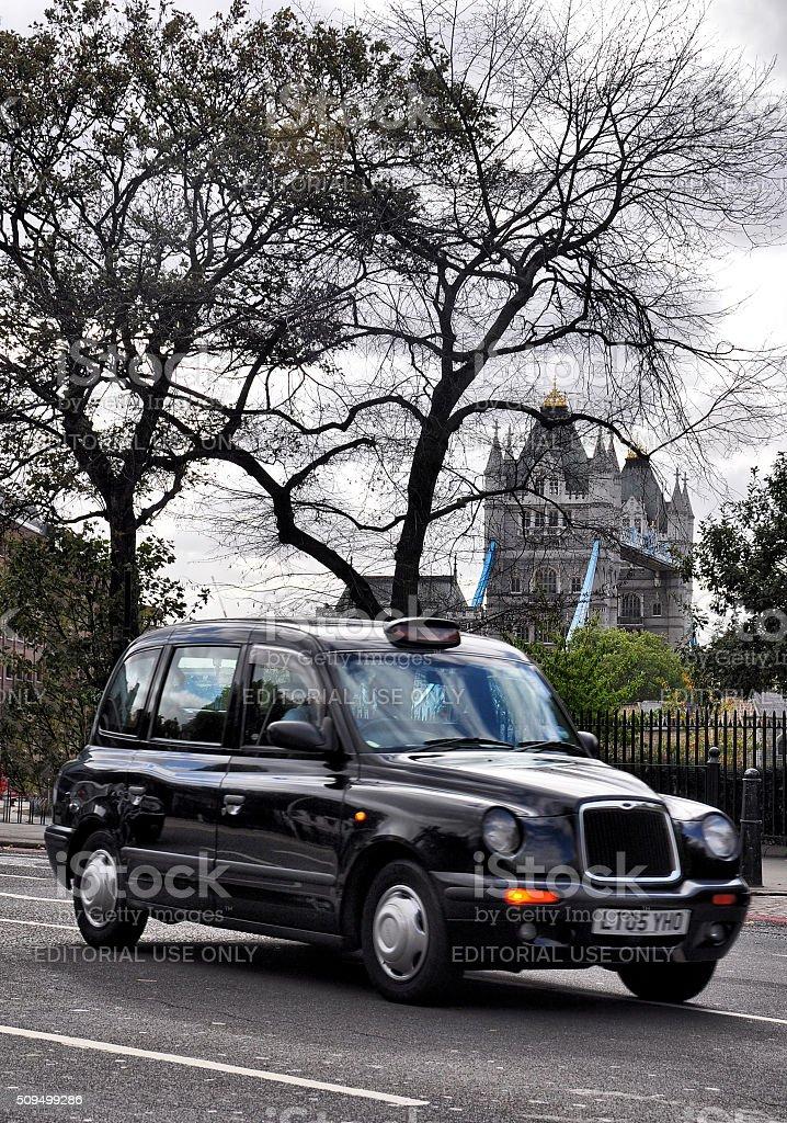 Black Cab and Tower Bridge stock photo