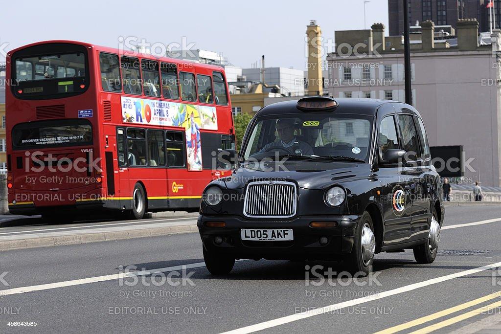Black Cab on Waterloo Bridge London stock photo