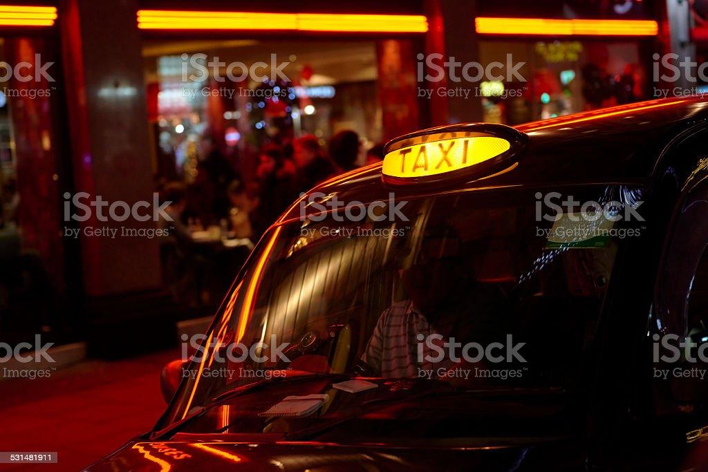 Black cab sign stock photo