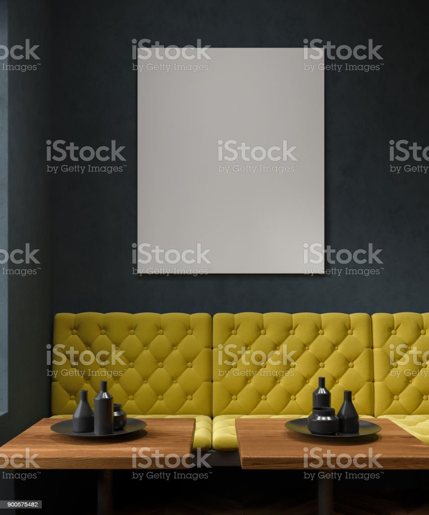 Black Cafe Yellow Sofa Poster Stock Photo Download Image Now Istock