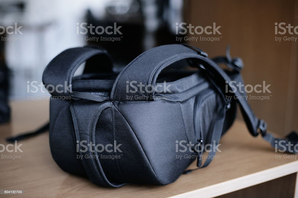 Black Camera Backpack stock photo