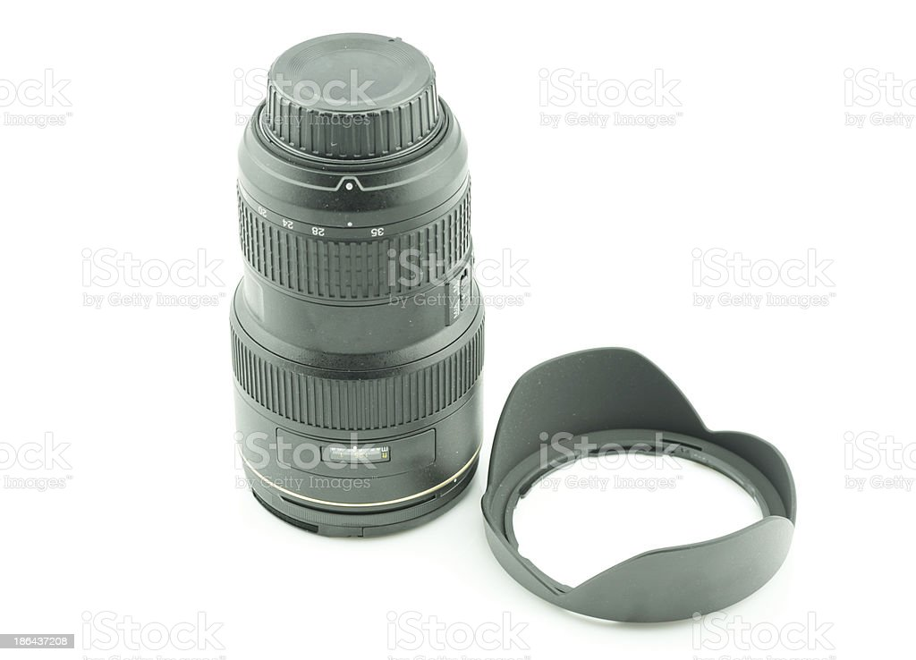 Black camera lens isolated in white background royalty-free stock photo
