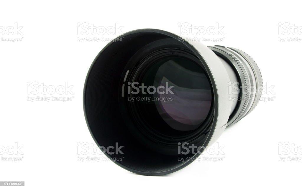 Black camera lens on white stock photo