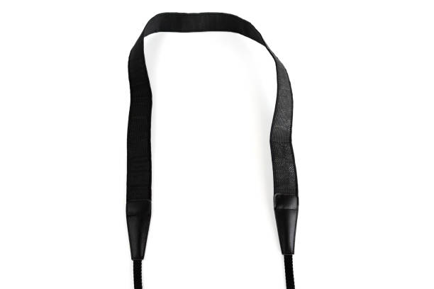 black camera strap standard design equipment strength support heavy size for professional photographer shoulder sling belt easy shoot photo on white isolated background. - hand holding phone zdjęcia i obrazy z banku zdjęć