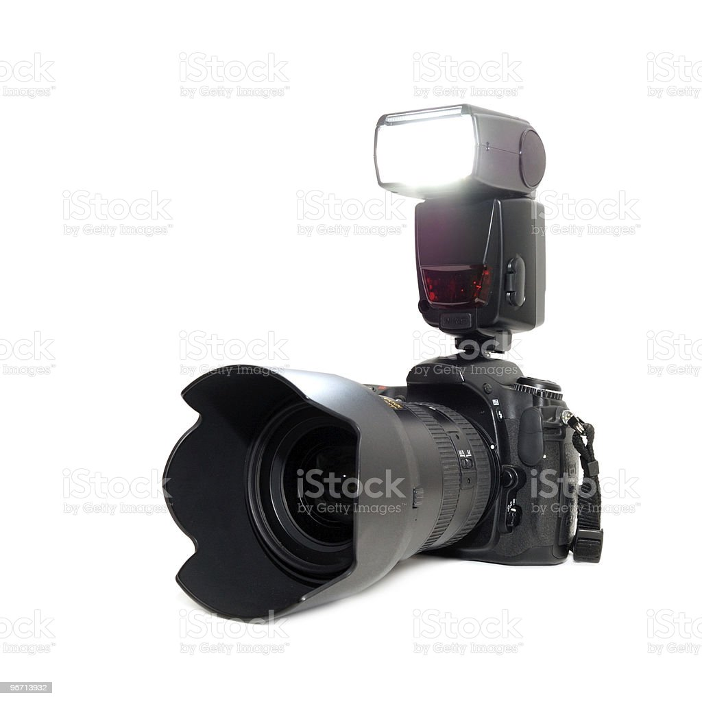 A black camera with flash on q white background royalty-free stock photo