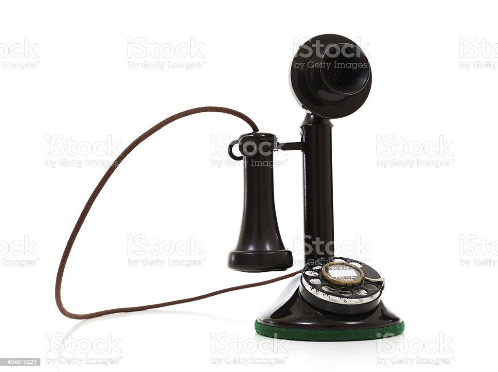 Nero Telefono Antico Su Sfondo Bianco Fotografie Stock E Altre