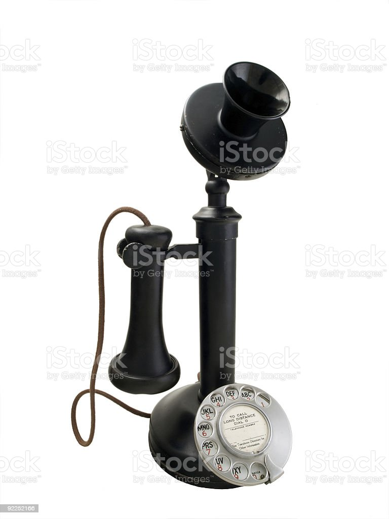 Black candlestick phone with metal dial stock photo