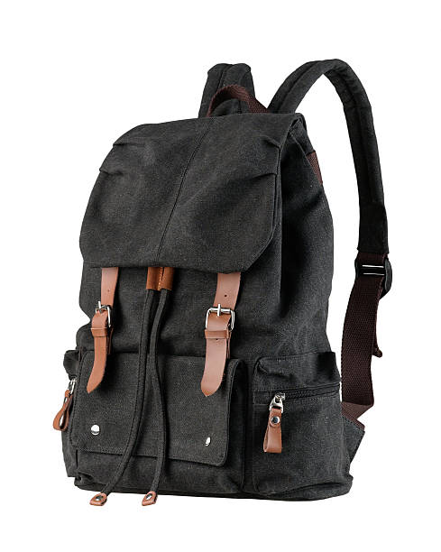 black canvas backpack stock photo