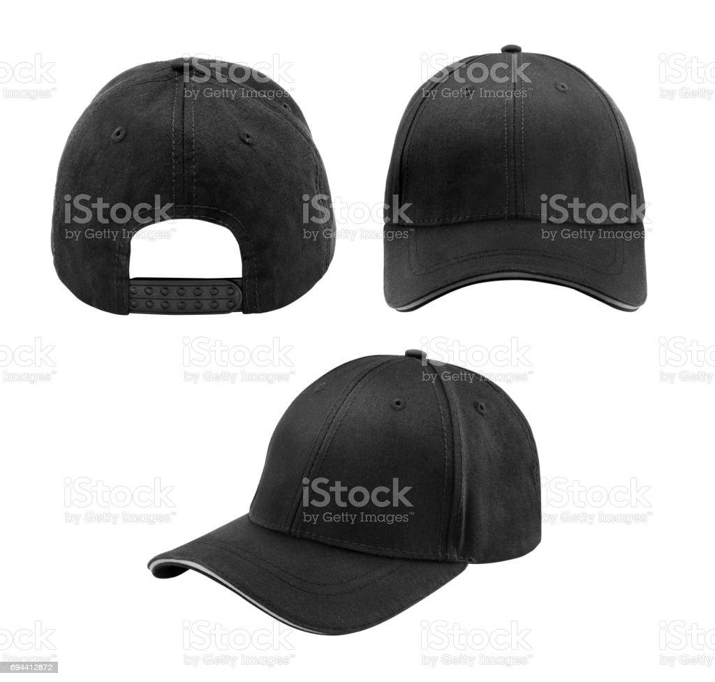 Black cap isolated on white background stock photo