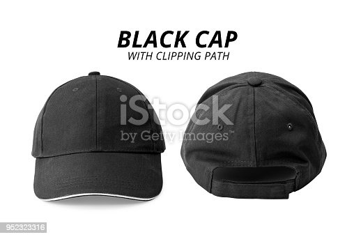 istock Black cap isolated on white background. Template of baseball cap in front and back view. ( Clipping path ) 952323316