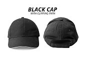 Black cap isolated on white background. Template of baseball cap in front and back view. ( Clipping path )