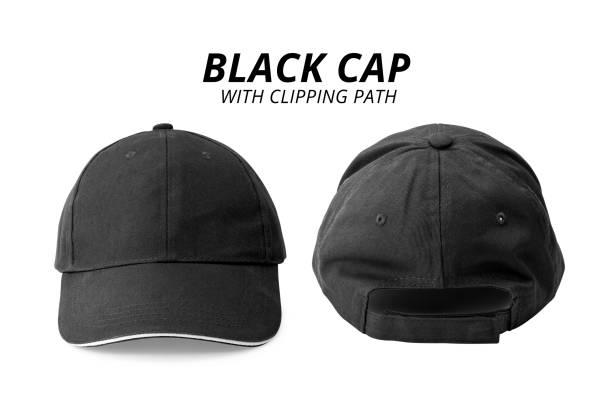 Black cap isolated on white background. Template of baseball cap in front and back view. ( Clipping path ) Black cap isolated on white background. Template of baseball cap in front and back view. ( Clipping path ) baseball cap stock pictures, royalty-free photos & images